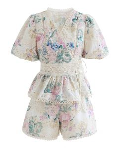 Stunning Eyelet Embroidered Wrap Top and Shorts Set in Floral