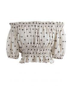 Embroidered Ruffle Hem Off-Shoulder Crop Top in Linen