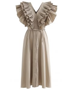 Pleated Ruffle Buttoned V-Neck Self-Tie Maxi Dress in Tan