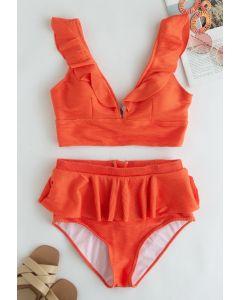 Ensemble de bikini à volants avec fermeture éclair au dos en rouge