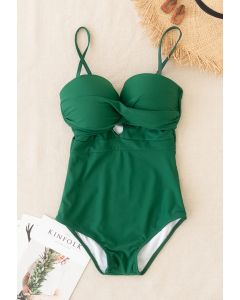 Cross Front Cami Swimsuit in Green