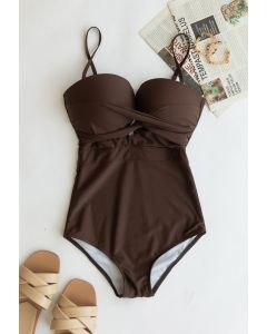 Cross Front Cami Swimsuit in Brown