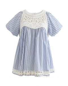 Crochet Inserted Bubble Sleeves Dolly Top in Stripe