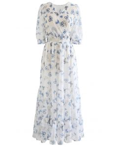Fluttering Butterfly Print Frilling Chiffon Maxi Dress