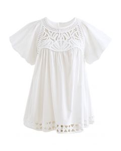 Crochet Inserted Bubble Sleeves Dolly Top in White