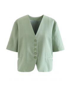 Buttoned Front Short Sleeve Crop Blazer in Green