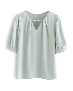 Pearly Neck Satin Shirt in Pistachio