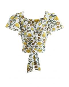 Wrap Front Bowknot Pleated Crop Top in Flower Print