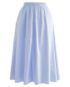 Solid Color Side Pocket Cotton Skirt in Blue