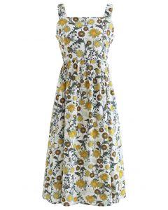 Dandelion Print Cutout Back Cami Dress