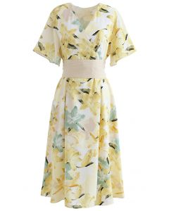Lily Print Flare Sleeve Belted Midi Dress in Yellow