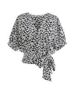 Floral Cluster Tie Waist Wrap Crop Top in Black