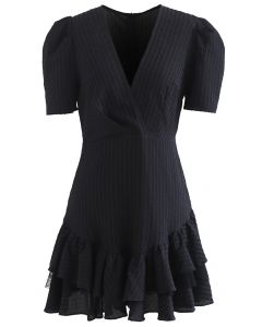 Lace Inserted Embossed Tiered Mini Dress in Black