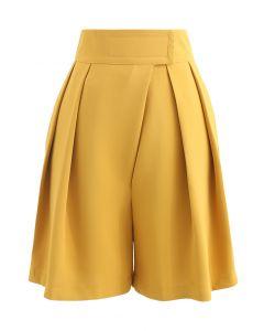 High-Rise Tab Waist Tailored Shorts in Mustard