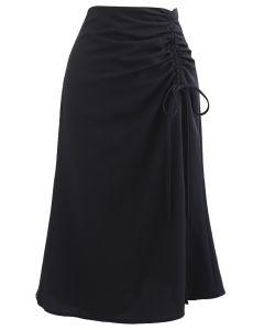 Ruched Drawstring Front Slit Midi Skirt in Black