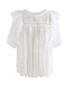 Crochet Ruffle Embroidered Mesh Top