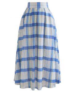 Pastel Plaid Pleated Midi Skirt in Blue