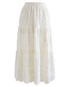 Embroidered Flower Scalloped Skirt in Ivory