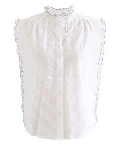 Haut sans manches boutonné à bords contrastés en blanc