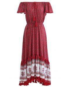 Robe maxi imprimée à manches flottantes Boho Floret en rouge