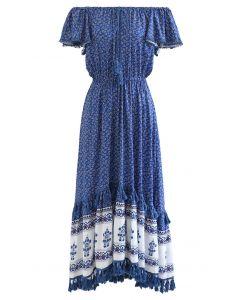 Robe longue à manches flottantes imprimées Boho Floret en bleu