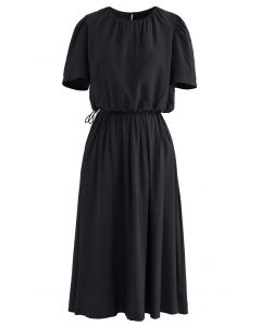 Ensemble haut court et jupe à taille avec cordon de serrage en noir