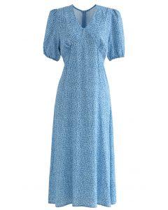 Robe imprimée à pois à épaules dénudées et col en V