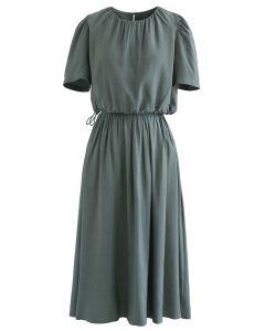 Ensemble haut court et jupe à taille avec cordon de serrage en bleu sarcelle