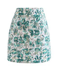 Mini jupe bourgeon florale en relief en vert