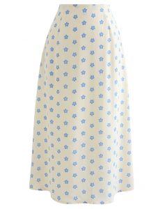 Jupe mi-longue trapèze à taille haute et imprimé marguerite en crème