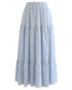 Jupe en coton à volants et fleurettes brodées en bleu clair