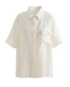 Chemise texturée à poche plaquée en jaune clair
