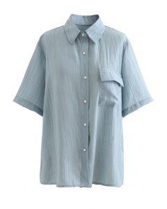 Chemise texturée à poche plaquée en bleu poussiéreux
