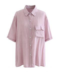 Chemise texturée à poche plaquée en vieux rose