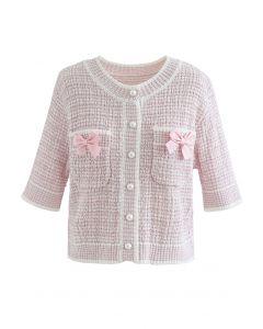 Cardigan en tricot boutonné décoré de nœuds en rose clair