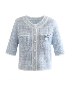 Cardigan en tricot boutonné décoré de nœuds en bleu