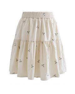 Mini-jupe à volants brodés Floret en crème