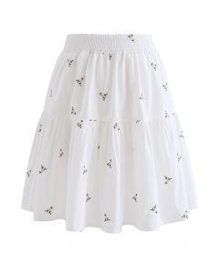 Mini-jupe à volants brodés Floret en blanc