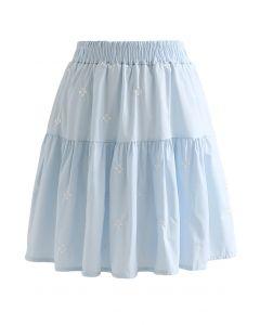 Mini-jupe brodée à volants Clover en bleu bébé