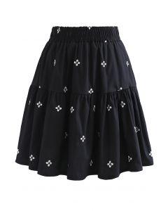 Mini-jupe brodée à volants Clover en noir