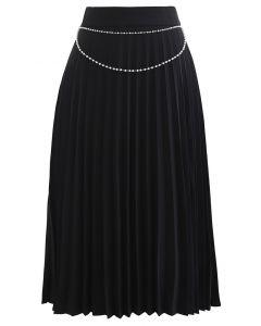 Jupe mi-longue plissée à chaîne drapée en noir
