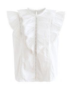 Top sans manches superposé à volants et bordure en crochet en blanc