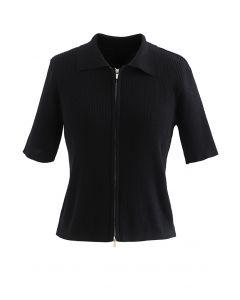 Cardigan en tricot côtelé à manches courtes et double fermeture éclair en noir
