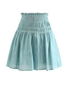 High Waist Shirred Shimmer Flared Shorts in Teal