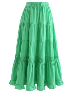 Solid Color Frilling Cotton Midi Skirt in Green