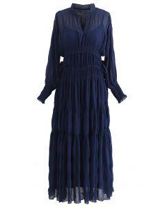 Full Shirring Side Drawstring Chiffon Dress in Navy