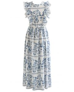 Open Back Floral Ruffle Sleeveless Maxi Dress