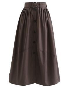 Brown Belted Button Down Pleated Midi Skirt