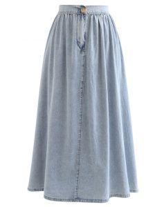 Elastic Back Waist A-Line Denim Skirt in Washed Blue