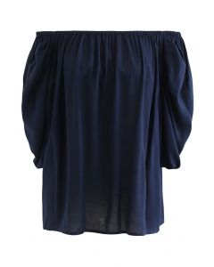 Frilling Bubble Sleeve Off-Shoulder Top in Navy